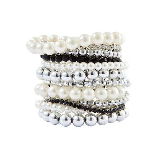 "Komplet bransoletek ""perła"" czarno-srebrny kolor marki Bonprix"