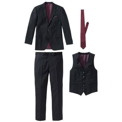 381468af81c06 Zobacz w sklepie Garnitur 4-częściowy (marynarka, spodnie, kamizelka i  krawat) bonprix czarno-