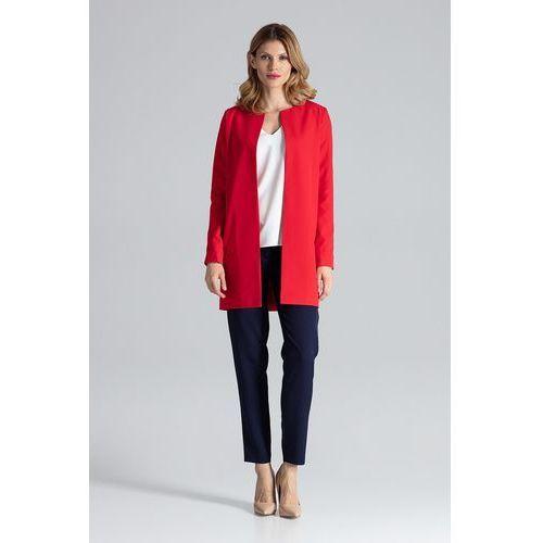 Czerwony pudełkowy kobiecy płaszcz bez zapięcia marki Figl