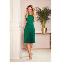 Elegancka sukienka z plisowanym dołem - zielona