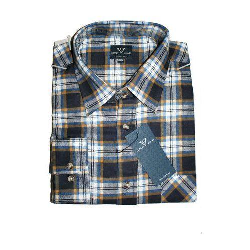 Koszula flanelowa z długim rękawem kratka granatowa Cotton valley
