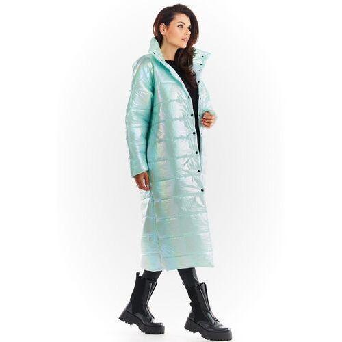 Połyskujący pikowany płaszcz zapinany na napy - miętowy marki Awama