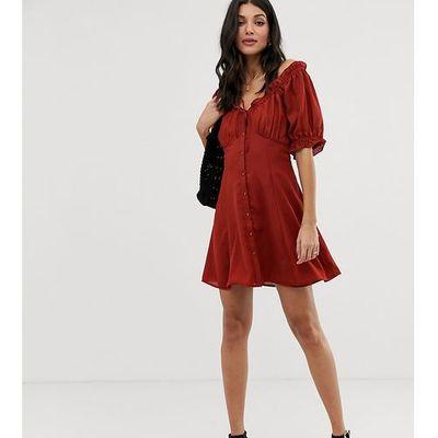 6d56cf6141 suknie sukienki sukienka babydoll z lnu blue ASOS Tall kolekcja ...
