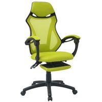 vidaXL Krzesło biurowe z odchylanym oparciem i podnóżkiem, czarno-zielone (8718476016945)