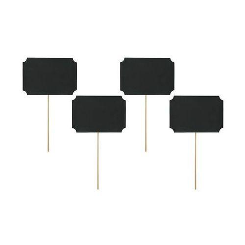 Party deco Karteczki na patyczkach czarne - 11 cm x 8 cm - 4 szt. (5901157482112)