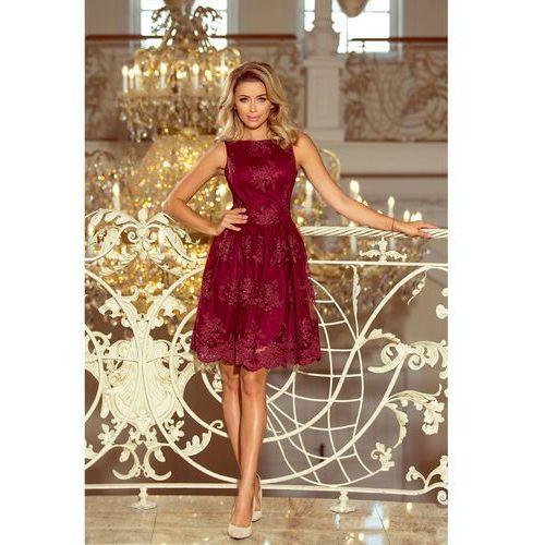 270c5dd2b9 173-2 Ekskluzywna rozkloszowana sukienka z haftem - BORDOWA M ...