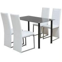 zestaw mebli do jadalni - 5 elementów biały i czarny marki Vidaxl