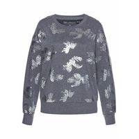 Bluza bonprix szary melanż- srebrny z nadrukiem
