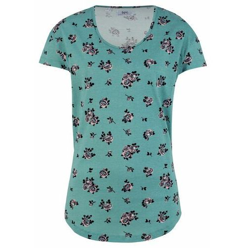 Shirt bawełniany z nadrukiem niebieski mineralny w kwiaty, Bonprix, 36-58