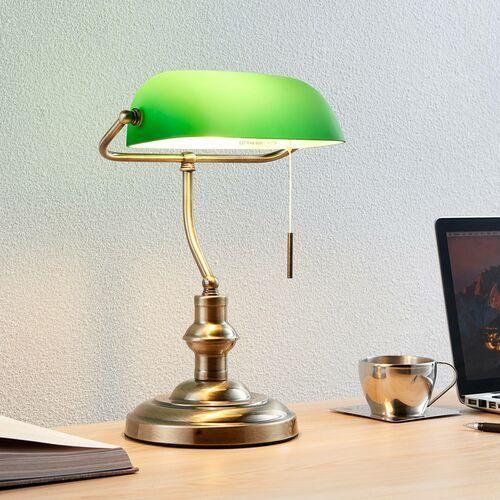 Milenka – lampa biurkowa z zielonym kloszem