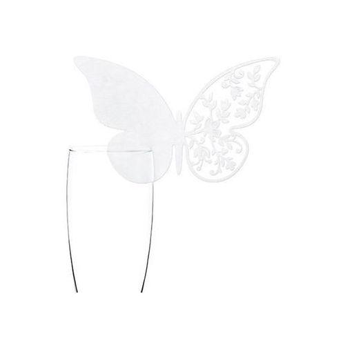 Wizytówki na kieliszki motylek - 12,5 x 7,5 cm - 10 szt. marki Party deco