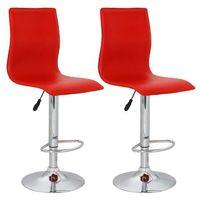 vidaXL Krzesła barowe z czerwonej eko skóry, wysokim oparciem x2 (8718475808473)