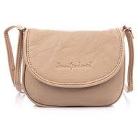 Skórzana mała torebka damska z półokrągłą klapką beżowa Jennifer Jones