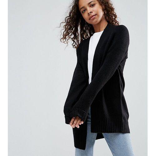 ASOS PETITE Chunky Knit Cardigan In Wool Mix - Black, wełna