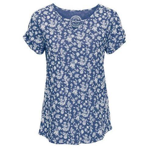 T-shirt z nadrukiem, krótki rękaw indygo marki Bonprix