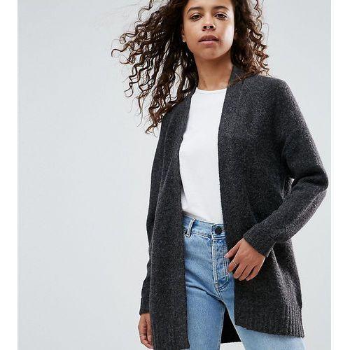ASOS PETITE Chunky Knit Cardigan In Wool Mix - Grey