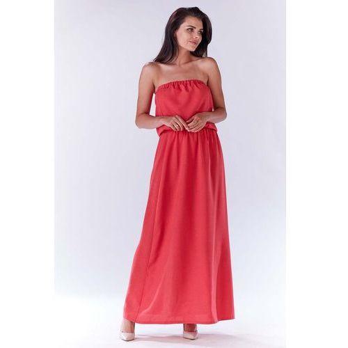 472b251a2d Różowa Maxi Sukienka z Odkrytymi Ramionami