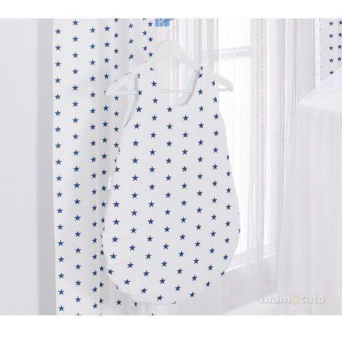 MAMO-TATO Śpiworek niemowlęcy do spania Gwiazdki granatowe na bieli, kolor niebieski