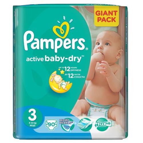 Pampers Active Baby 3 Midi (4-9 kg) Giant Pack - 90 szt
