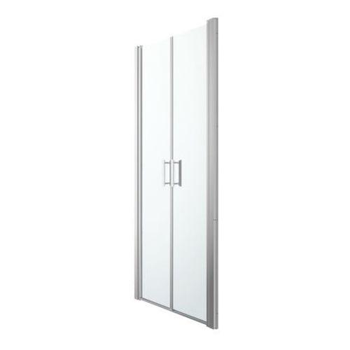 Goodhome Drzwi prysznicowe uchylne podwójne beloya 90 cm chrom/transparentne (3663602944928)