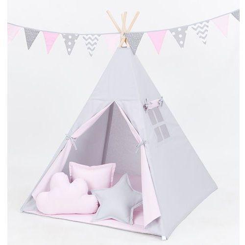 namiot tipi duży z matą i poduszkami popiel / jasny róż marki Mamo-tato