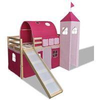 Vidaxl  zadaszone łóżeczko ze zjeżdżalnią i drabinką - różowy zamek, naturalne (8718475867173)