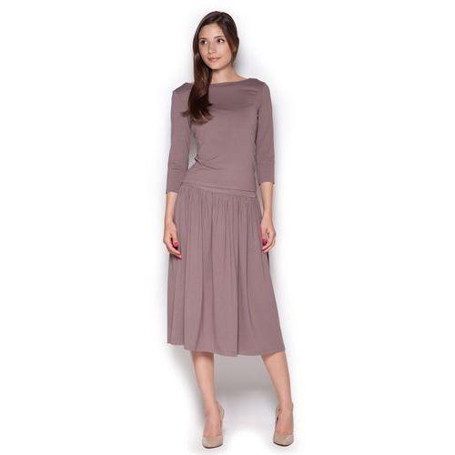 Figl Brązowy dzianinowy komplet bluzka + midi spódnica