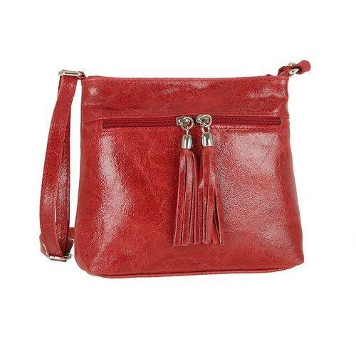 d2990c7f72556 Zgrabna skórzana torebka listonoszka czerwona - czerwony, kolor czerwony