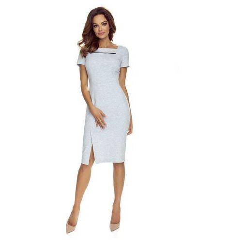 Pudełkowa sukienka koktajlowa z kontastową wstawką, w 4 rozmiarach