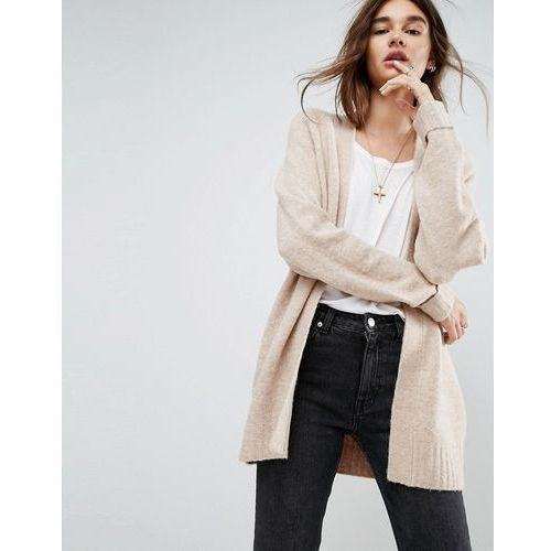 Chunky knit cardigan in wool mix - beige, Asos