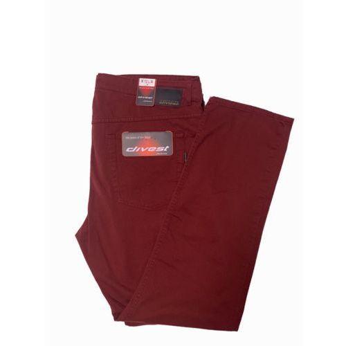 spodnie długie materiałowe bordowe model 515 124/33 bordo bawełna / lycra, Divest