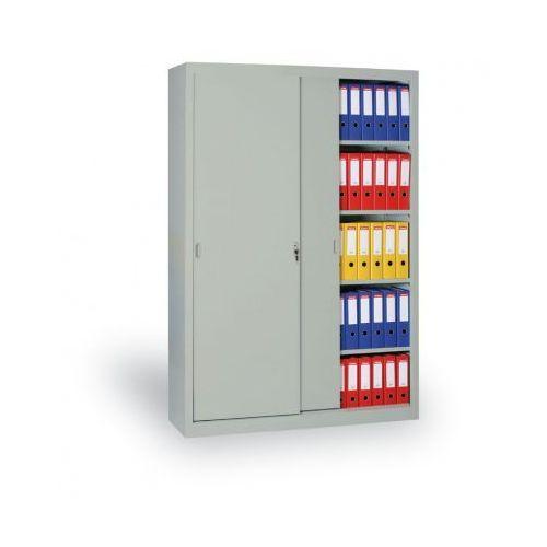 Metalowa szafa z przesuwnymi drzwiami, 1990x1000x450 mm, jasnoszary marki B2b partner