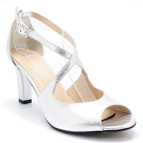 KOTYL 4325 SREBRNE - Taneczne sandałki ze skóry - Srebrny