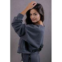 Dresowa bluza ze sznurowanym ściągaczem - grafitowa