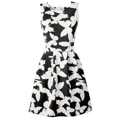 Sukienka z materiału o wyglądzie neoprenu bonprix czarno-kremowy