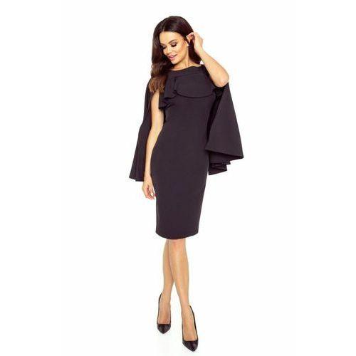Ołówkowa sukienka z pelerynką, kolor czarny