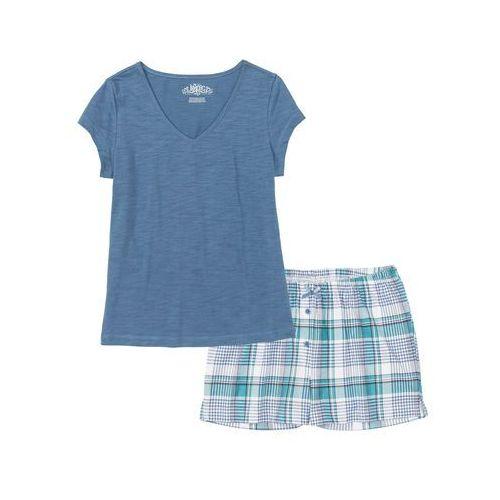 fe7284d341e195 Zobacz w sklepie Piżama z krótkimi spodniami bonprix niebieski dżins w kratę