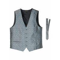Kamizelka + krawat (2 części) bonprix srebrnoszary paisley