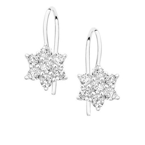 Srebrne kolczyki kwiatki cyrkonie
