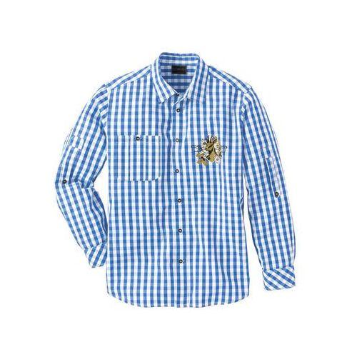 Bonprix Koszula ludowa regular fit niebieski lodowy - biały w kratę