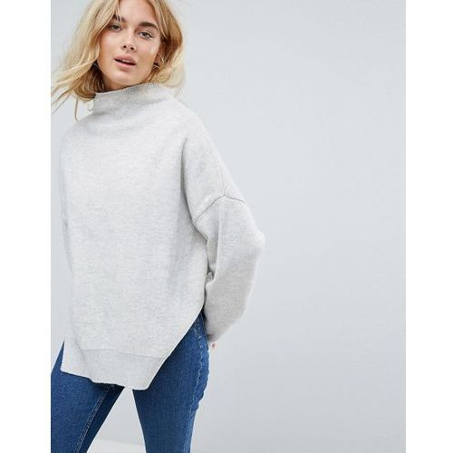 High neck wool jumper with contrast lining - yellow Weekday