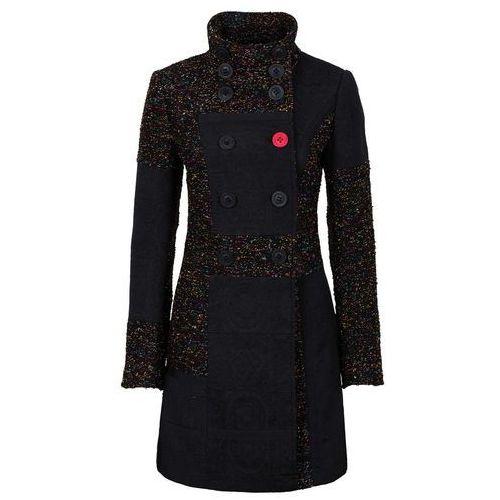 Płaszcz w połączeniu różnych materiałów i wzorów bonprix czarno-kolorowy, wełna