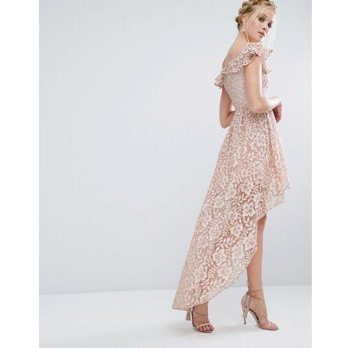 lace asymmetric off the shoulder dress with frill details - pink, Chi chi london