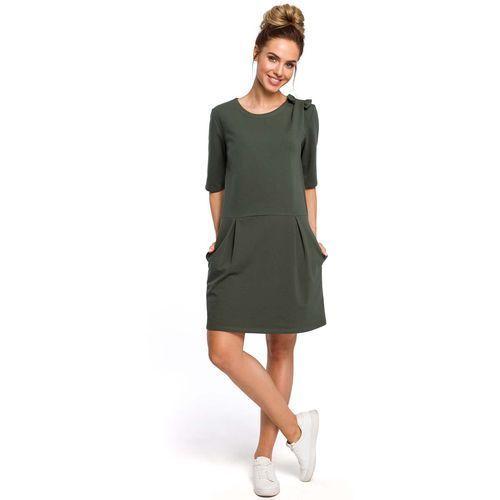 3e228f6076 Zielona Kobieca Sukienka Dzianinowa z Kokardką na Ramieniu