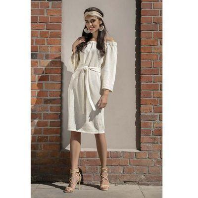 1054b94e1c suknie sukienki ecru elegancka sukienka z dlugim rekawem promocja ...