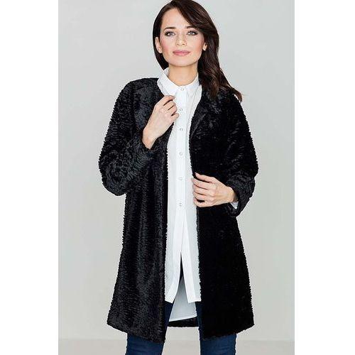 Czarna elegancka futrzana kurtka bez zapięcia marki Katrus