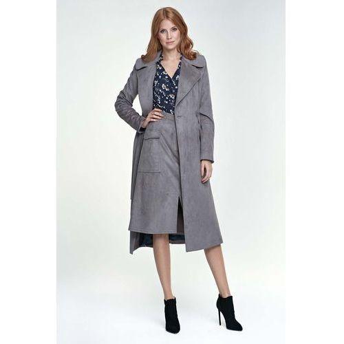 Szary płaszcz długi klasyczny z paskiem marki Nife