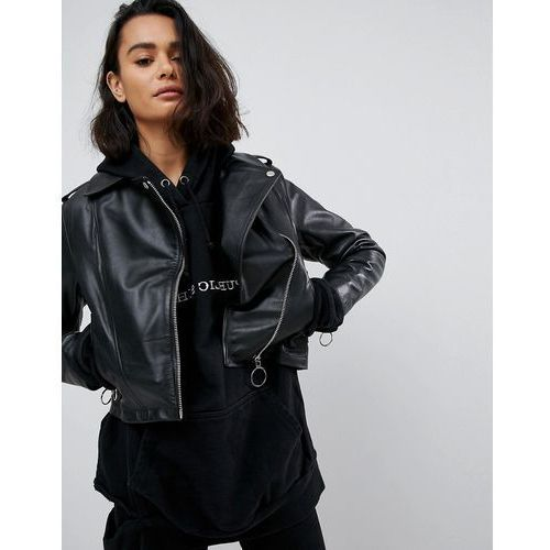 c45d68f675b03 Leather jacket with ring pull details - black (ASOS DESIGN) opinie + ...