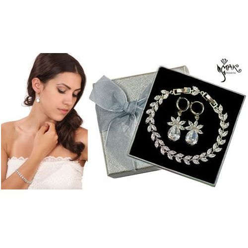 Kpl879 komplet ślubny, biżuteria ślubna z cyrkoniami b599/424 k599/521 marki Mak-biżuteria