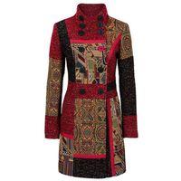 Płaszcz w połączeniu różnych materiałów i wzorów bonprix czerwono-kolorowy